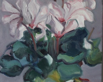 Pink Cyclamen, oil painting, original oil painting, pink flowers, plant, contemporary realism, handmade, square, one of a kind,