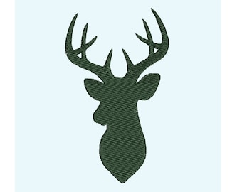 Buck deer hunting silhouette embroidery designs, many mini sizes (.pes .hus .dst .vp3 .vip .xxx .exp .jef) embroidery fill stitch embroidery