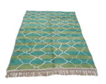 11'x7' Ft / Handmade Moroccan Rug Beni Ourain 100 Wool / Azilal Rug / Boucherouite Rug / Beni Ouarain / Moroccan Kilim