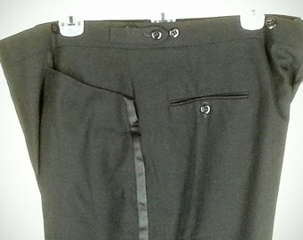 Black tuxedo pants slacks with buttons for suspenders and side waist adjustable tabs size 40 waist 31 inseam with 2 extra inches to lengthen