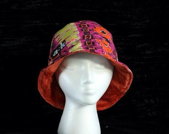 Neon Tribal Cotton with Orange Velvet Reversible Bucket Hat, Bucket Hat, Headwear, Sun Hat, Beach Hat, Summer Hat, Fisherman Hat, Hat