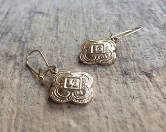 CLEARANCE, Small Gold Quatrefoil Earrings, Moroccan Earrings, GoldEarrings, Bohemian Earrings, Bohemian Jewelry, 17mm Charm