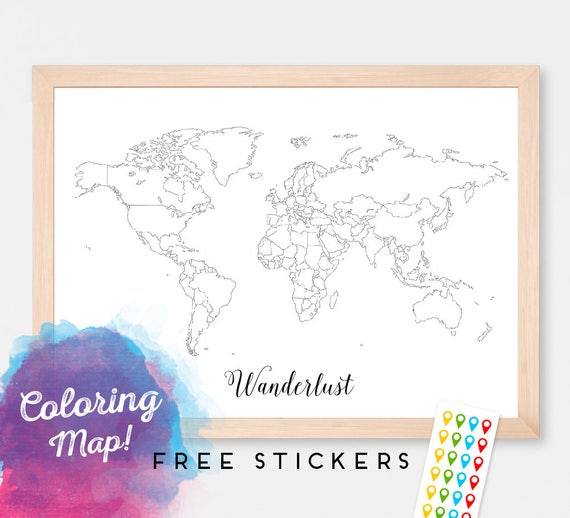 Custom World Map Poster Coloring Map Countries Outline