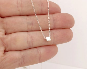 sterling silver single cube necklace