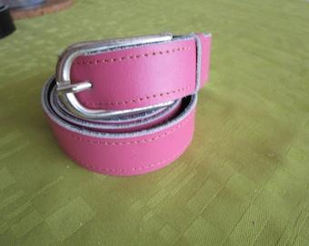 Black reversible leather belt / pink