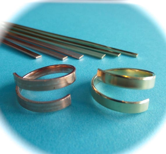 """3 Copper or Jeweler's Brass 1/4"""" Wide Wrap Blanks 18 Gauge Metal Stamping Ring Blanks Polished Flat Blanks - Made in USA"""