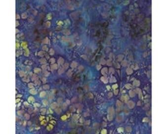 Fabric patchwork batik flowers blue turquoise purple, 100% cotton REF KF05M5