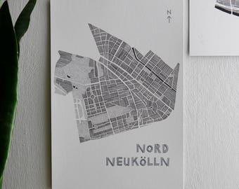 NORDNEUKOELLN POSTCARD / PRINT A5 - Berlin District / Berlin Stadteil - Lines and dots map