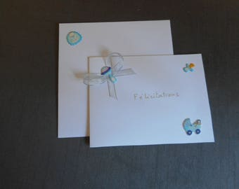 White and blue baby boy birth congratulations card