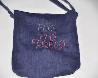Denim shoulder bag customize with your name