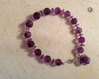 Purple Bracelet - Amethyst Gemstone Jewelry - Sterling Silver Jewellery - Fashion - Beaded - Flower Charm