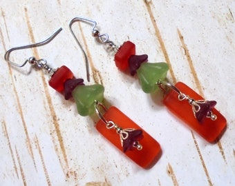 Orange, Green and Dark Pink Frosted Flower Earrings (3851)