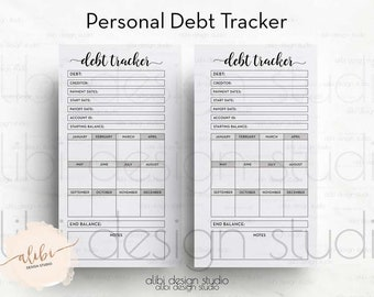 Debt Tracker, Personal Planner Inserts, Budget Planner, Money Organizer, Financial Planner, Debt Planner, Personal Planner, Debt Printable