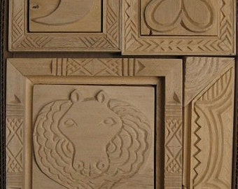Oshiwa Carved Wood Printing Stamp Set, Lion and Borders, Item 32-2