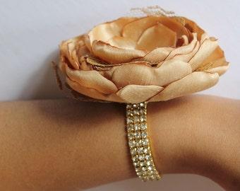 Gold Wrist Corsage Gold Wedding  Corsage Mothers  Corsage  Silk Corsage Prom Corsage Flower Corsage Wristlet Corsage Wedding  Gold Corsage