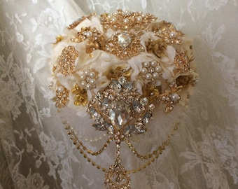 Gold & Ivory Brooch Bouquet, Cascading Bouquet, Rush Orders Welcome, Reserved with deposit,