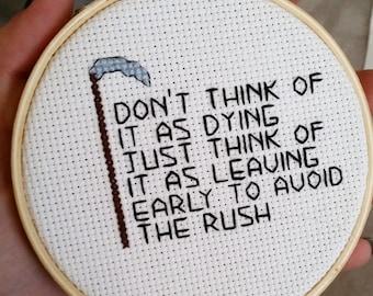 Small Terry Pratchett Inspired Cross Stitch