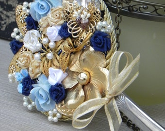 Handmade Hand Mirror with Vintage Jewelry and Ribbon Roses