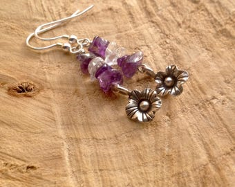 Raw Amethyst/crystal quartz/purple eartings/dangle/drop earrings/Karen Hill Tribe silver/flower charm/Sterling silver/February birthstone