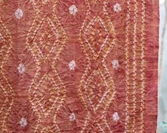 RB033 - Saffron Red Natural Dyed Shibori Fabrics