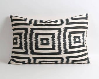 Ikat pillow, handwoven ikat throw pillow cover, 16x24 decorative ikat pillow, accent pillows