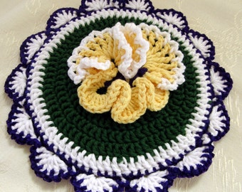 Crocheted Hot Mat Trivet Pot Holder Yellow Pansy Design