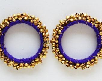 30% off Blue & Gold Bangle/ Beaded Bracelet/ Beaded Bangle/ Ethnic Bracelet/ Chunky Bracelet/ Bangle Bracelet/ Cuff Bracelet - 2 PIECES