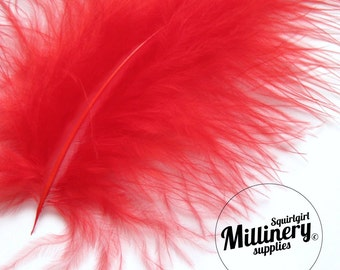 20 Fluffy Marabou Feathers for Millinery Hat Trimming & Crafts - Red