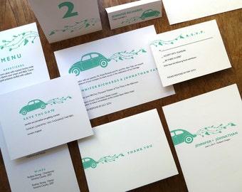 Printable Wedding Invitation Kit - Instant Download - Wedding Printables - Just Married Wedding Invite Set - VW Bug PDFs - Volkswagen Invite