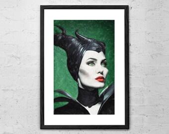 Maleficent - Painting - Maleficent Art Print - Disney Painting - Sleeping Beauty - Fairy Tale - Disney Villain Wall Art - Maleficent Poster