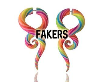 Fakers - Ear Candy Rainbow Gauges - Faux Gauges - Fake Gauges - Fake Gauge Earrings