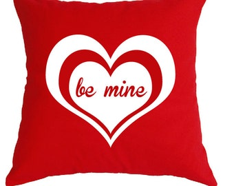 """Adorable heart """"be mine"""" pillow, perfect for valentines day, to propose with or for your second wedding anniversary as """"cotton""""."""