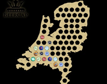 The Netherlands Beer Cap Map, Beer Cap Map, Bottle Cap Map, Beer Cap Holder, Beer Cap Display, Gift, All Countries Available, Christmas Gift