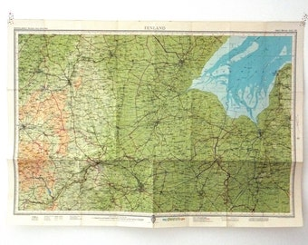 Fenland Map. Vintage Map of Fenland, England.  English map. Home Decor. Office Decor. souvenir, Large Map. gift for guys
