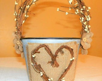 Flower Girl Basket with Grapevine Handle, Heart and Burlap Flowers on a 5 1/4 Inch Metal Bucket