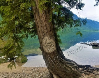 It is Well with My Soul, On the shore of a glassy lake, Tree Carving Message, Color, Print, Classic Hymn, Encouragement, 3 size options
