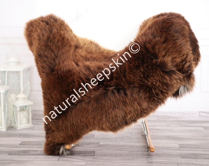 Sheepskin Rug | Real Sheepskin Rug | Shaggy Rug | Chair Cover | Sheepskin Throw | Brown Sheepskin | Home Decor | #febher72