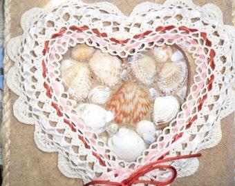 Sea Shell & Sand Table Art-Crochet Heart
