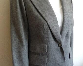 Vintage Women's 80's Evan-Picone, Blazer, Fully Lined, Wool, Grey, Jacket (M)