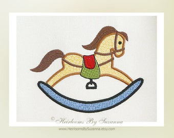 Rocking Horse Machine Embroidery Applique - Machine Embroidery - Applique for Children - Design for Boys - 3 Sizes - 4x4 - 5x7
