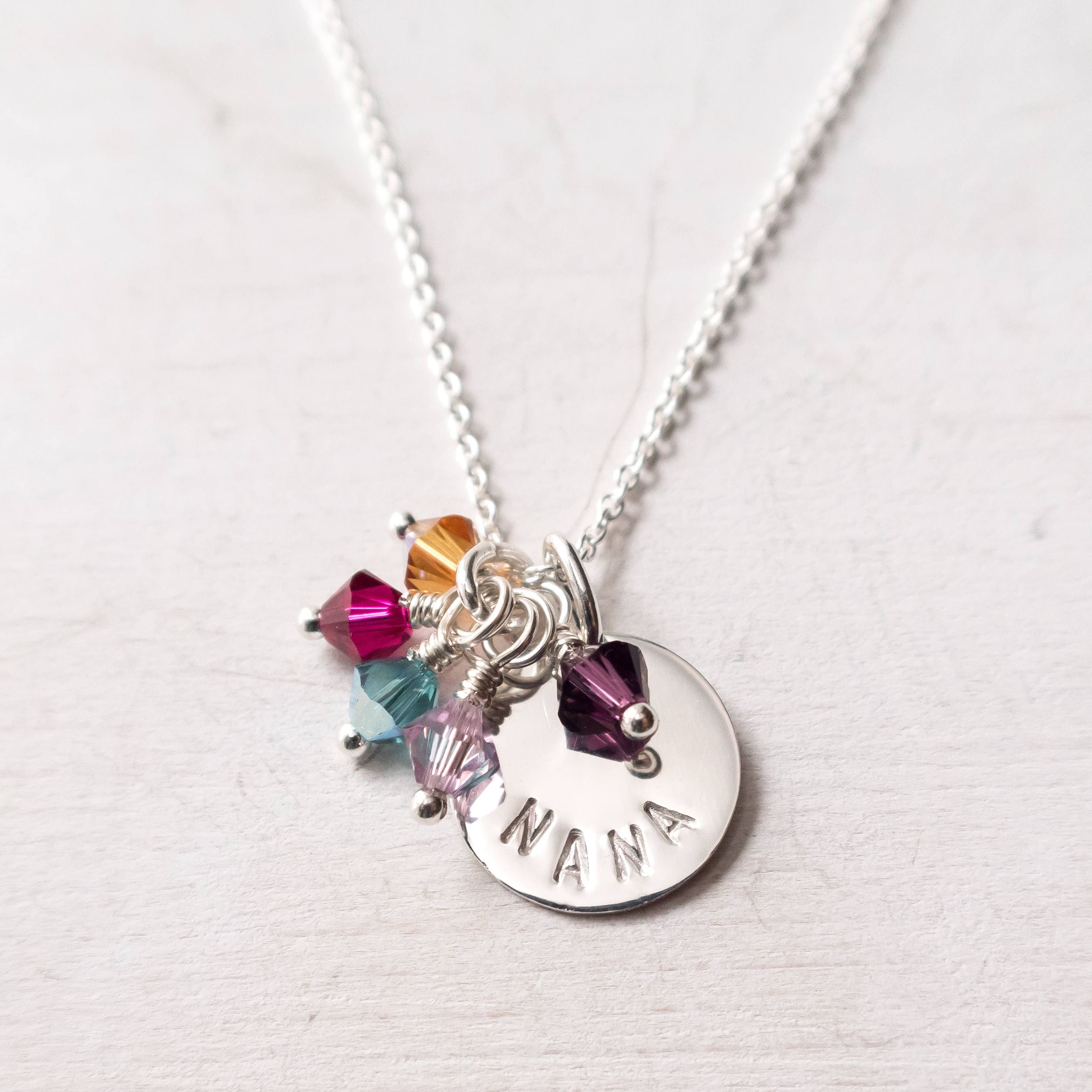 grandkid at necklace sweet gifts heart birthstone mom blossom