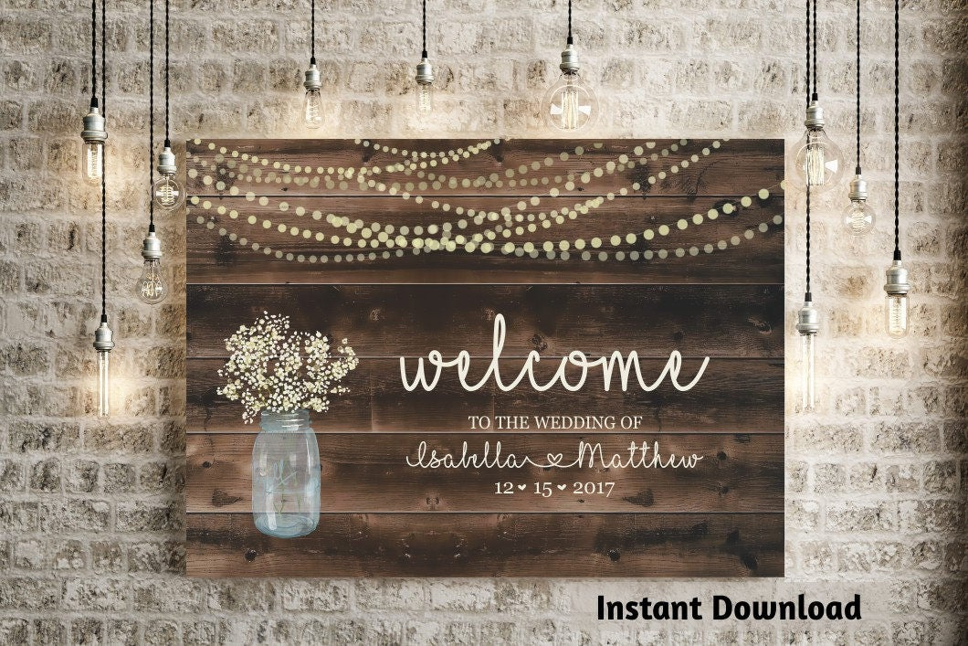 wedding welcome sign printable template rustic baby breath. Black Bedroom Furniture Sets. Home Design Ideas
