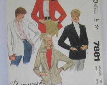 McCalls 1982 Sewing paper pattern Lady's suit jacket pattern size 10  uncut 7881
