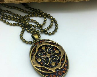 A Touch of Shimmer         Mixed Media Pendant         Bronze  Pendant    item 1047