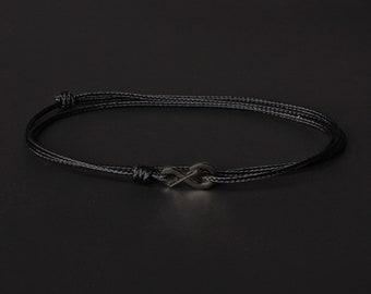 Men's Bracelet - Men's Black Bracelet - Men's Cord Bracelet - Minimalist Bracelet - Black Bracelet - Thin cord bracelet for men - Black Cord
