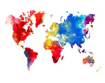 World Map  Abstract Painting Print Poster