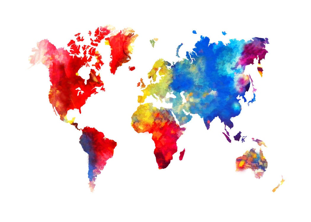 World map abstract painting print poster zoom gumiabroncs Choice Image