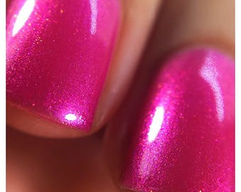 Who's Your Momma Now - Hot Pink Fuchcia Shimmering Holographic Nail Polish