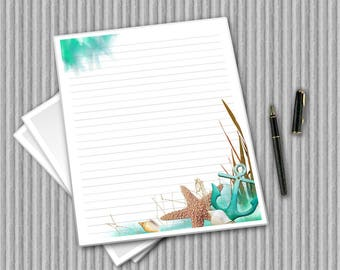 Beach Writing Paper - Printable Journal Pages - Ocean paper set - Sea and starfish Notepaper - Nautical Paper - digital paper