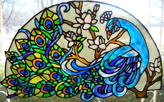 Peacock Stained Glass Window Cling 13 25 X 8